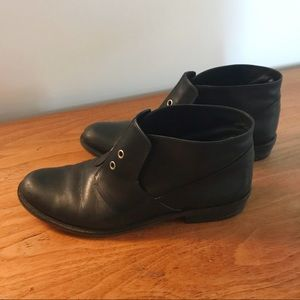 7 For All Mankind Black Leather Ankle Boots
